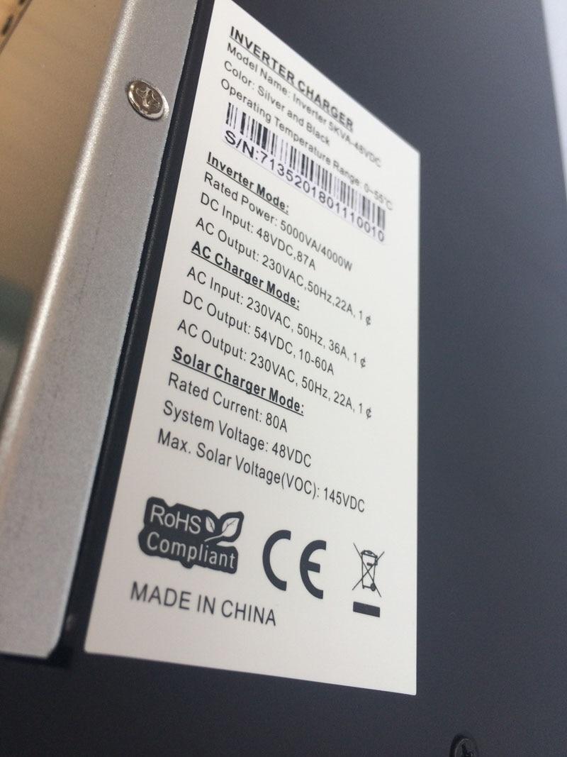 MPPT 10KVA 8000W Solar Inverter 80A Solar Inverter Hybrid 48Vdc To 220V/380vAC With 60A AC Charger Max. Solar Panels Input 8KW