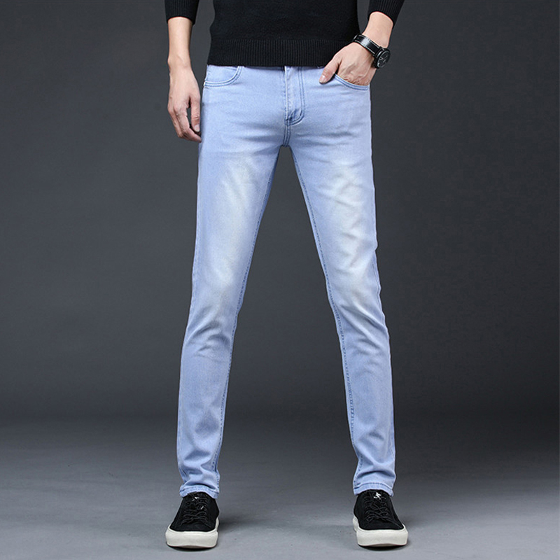 2020 New Arrival Men's Denim Jeans Straight Full Length Pants with High Elasticity Slim Pants Man Fashion Mid-waist Jeans men 6