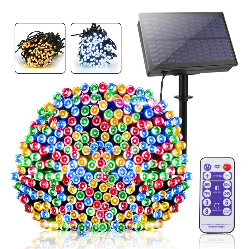 Solar Panel Solar String Light With Remote Controller Dimmable Outdoor Garden Christmas Fairy Tale Holiday Lighting Decora