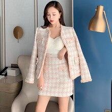 Дизайнерский Модный розовый твидовый в клетку женский костюм осень зима однобортный пиджак комплект из двух предметов и мини-кисточка шерстяная юбка комплект