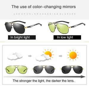 Image 3 - 2020 جديد فوتوكروميك النظارات الشمسية الاستقطاب يوم للرؤية الليلية الألومنيوم الرجال سائق الأصفر الذكور نظارات للقيادة oculos دي سول