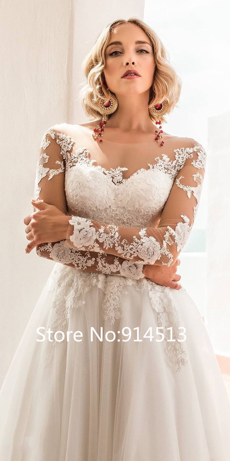 Image 4 - Glamorous Tulle Jewel Neckline Ball Gown Wedding Dresses With Lace Appliques Belt Long Sleeve Wedding Gowns Vestido de Noiva-in Wedding Dresses from Weddings & Events