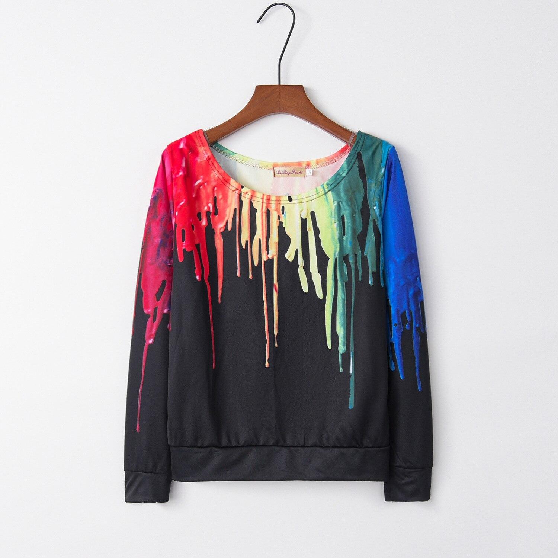 Rainbow Scrawl Dauber 2020 New Design Hot Sale Hoodies Sweatshirts Women Casual Kawaii Harajuku Sweat Girls European Tops Korean