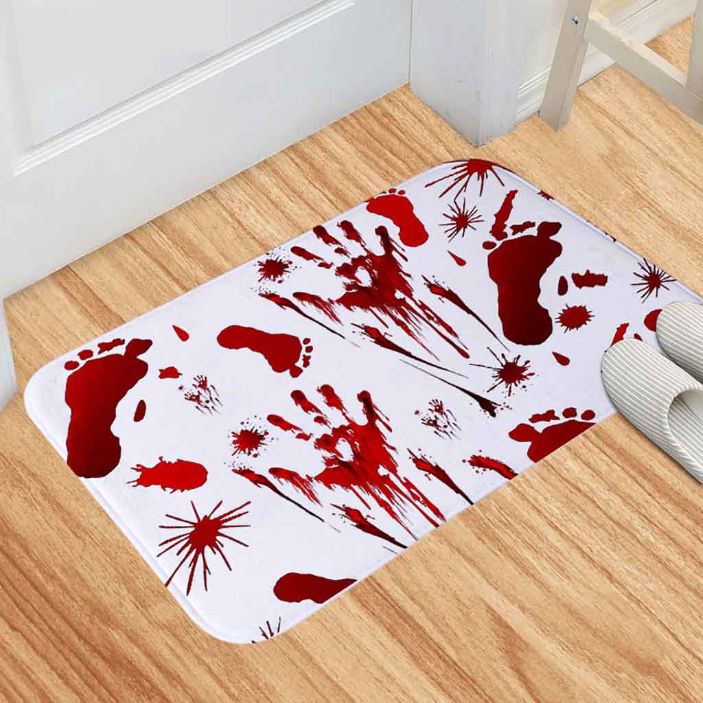 Halloween Red Blood Bath Bathroom Mat Bloody Footprint Horrible Anti-slip Rug