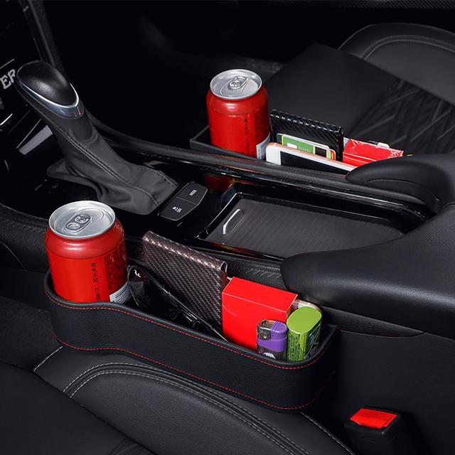 Car Seat Gap Storage Box Cup PU Leather Pocket Catcher Organizer Phone Bottle Cups Holder Multifunctional Car Accessories 4