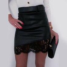 Осенняя Женская Сексуальная кружевная короткая юбка на молнии, Женская Повседневная мини-юбка из искусственной кожи