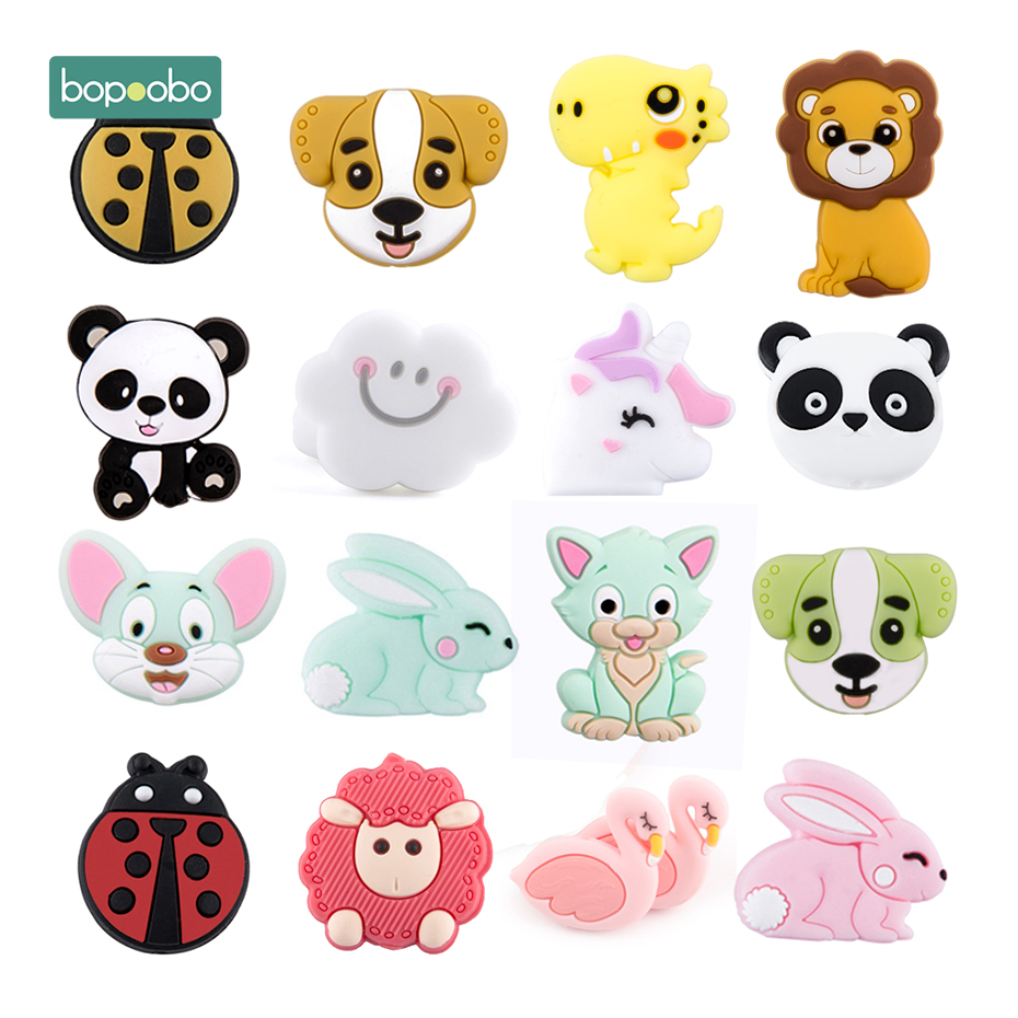 Bopoobo Silicone Beads BPA Free Mini Cloud Baby Teething Toys For Pacifier Clips New Born Silicone Rodent Tiny Rod Baby Teether