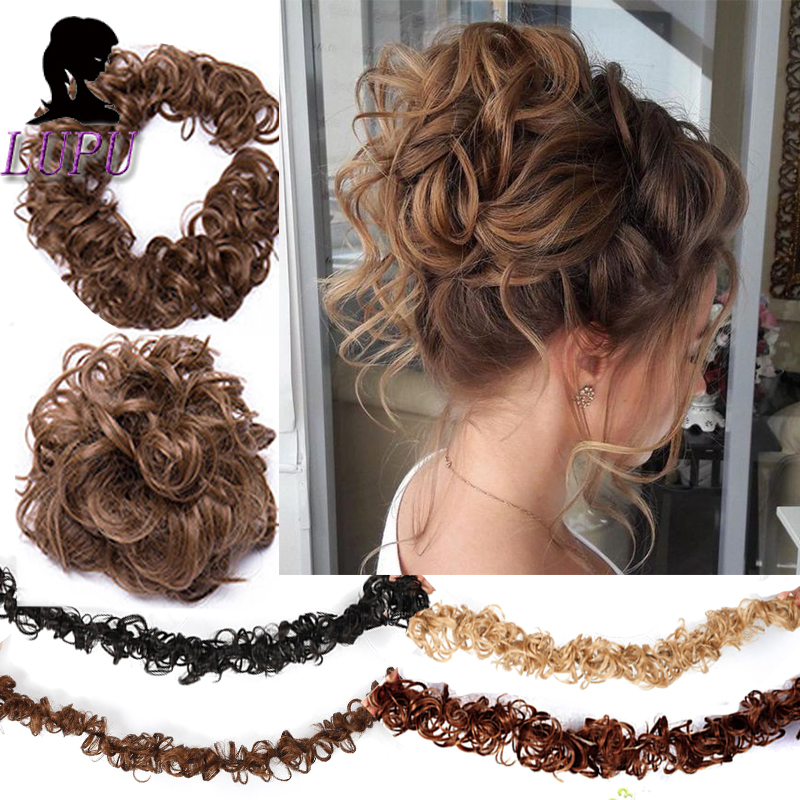 LUPU Curly Messy Scrunchie Chignon Clip In Natural Fake Synthetic Hair Extension Black Brown Heat Resistant Fiber Hair Bun