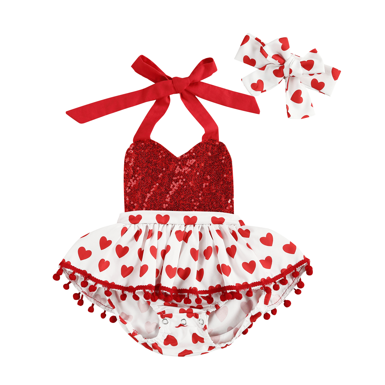 Infant Baby Girls Valentine/'s Day Hearts Print Ruffles Romper Jumpsuit+Headbands