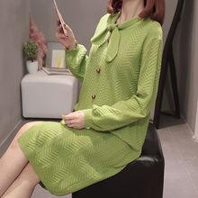 Платье с длинным рукавом вязаный свитер пуловер оверсайз Осеннее