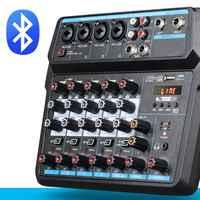 Mezclador de Audio profesional de seis canales con interfaz USB, Bluetooth, 48V, Phantom Power, consola mezcladora de sonido para grabación de PC y DJ