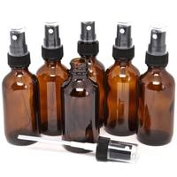 10Pcs 5 100ML Beauty Empty Amber Glass Bottles Essential Oil Mist Spray Container Case Cosmetic Bottles Travel Makeup Container