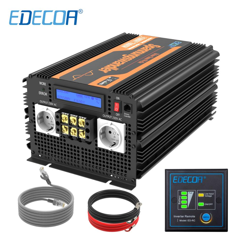EDECOA 3500W 7000W power inverter <font><b>DC</b></font> <font><b>12V</b></font> <font><b>AC</b></font> 220V <font><b>230V</b></font> 240V reine sinus welle mit fernbedienung LCD display image