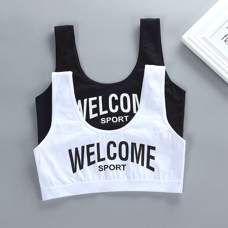 Kids Cotton Sports Training Bra Underwear Solid Color Letters Printed Scoop Neckline Teenage Puberty Girl Wireless Bralette Ves