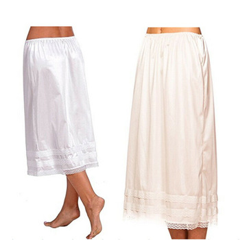 2019 Fashion Women's Lace Mid-Calt Skirt Elastic Waist Slip Solid Color Party Shopping Underskirt Petticoat Casual Bottoms L-3XL 1