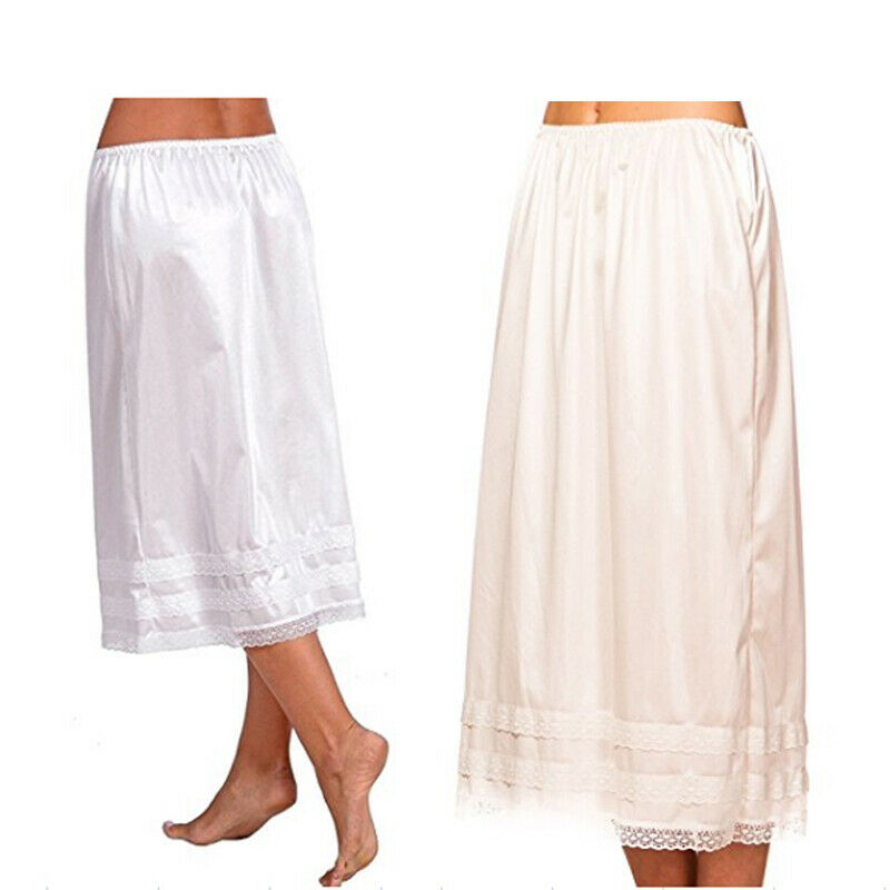 2019 Fashion Women's Lace Mid-Calt Skirt Elastic Waist Slip Solid Color Party Shopping Underskirt Petticoat Casual Bottoms L-3XL