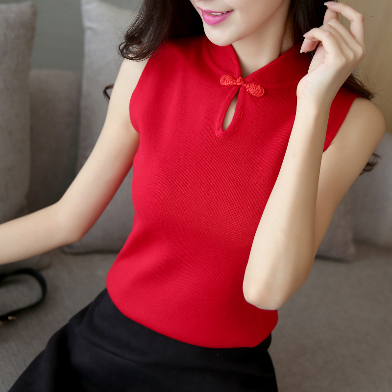 Tank Top Women's Spring Summer 2019 New Top Slim Fit Inside Shirt Sleeveless Cheongsam Collar Knitted Bottom Coat