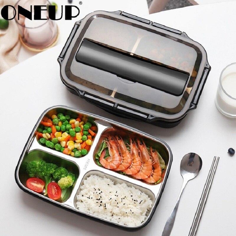 ONEUP 휴대용 구획 단열 도시락 상자 스테인레스 스틸 304 일본 사무실 직원 분리 된 전자 레인지 가열 벤토 박스
