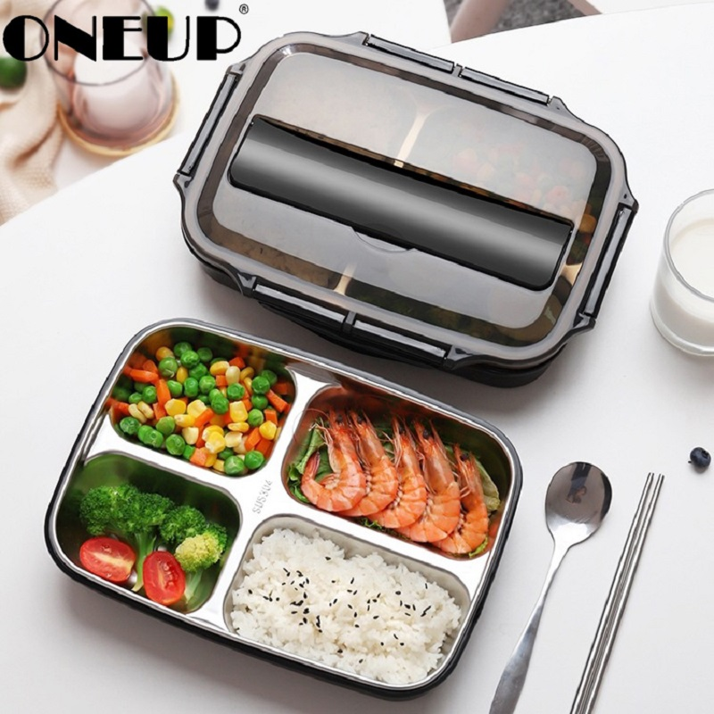 ONEUP Lunch-Box Compartment Microwave Insulation Office Heating Japanese Portable Stainless-Steel-304 title=