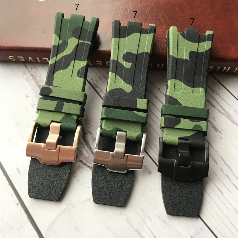 For <font><b>AP</b></font> Silicone <font><b>watch</b></font> belt Rubber Watchband Sports Camouflage camo <font><b>band</b></font> 28mm men Bracelet For Audemars And Piguet strap logo on image