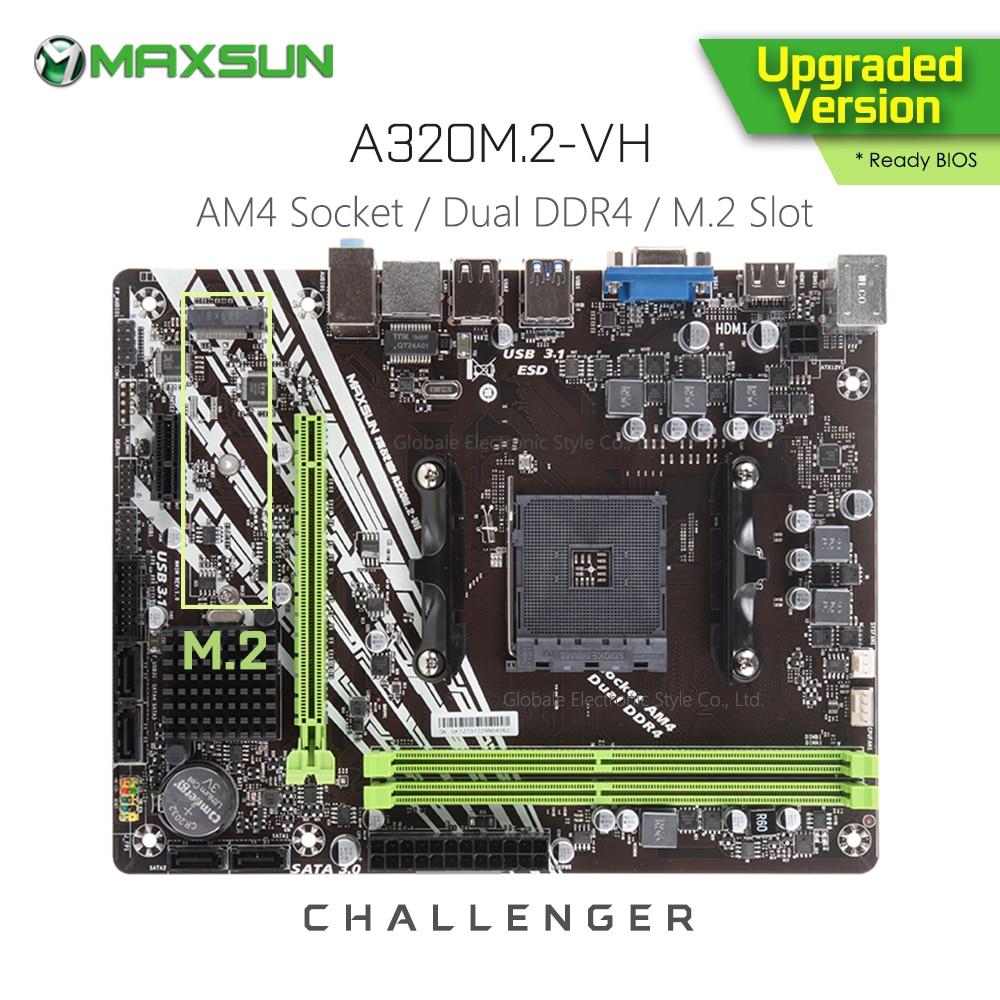 Original MAXSUN Challenger A320M.2 VH AMD Motherboard AM4 MATX Dual Channel DDR4 1000M LAN SATA3.0 USB3.1 VGA HDMI NVME SSD