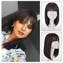 Bangs Hair Black Straight Wigs Brazilian Human hair  For Women short/long Straight Hair Non-remy Hair woman daily wear can be