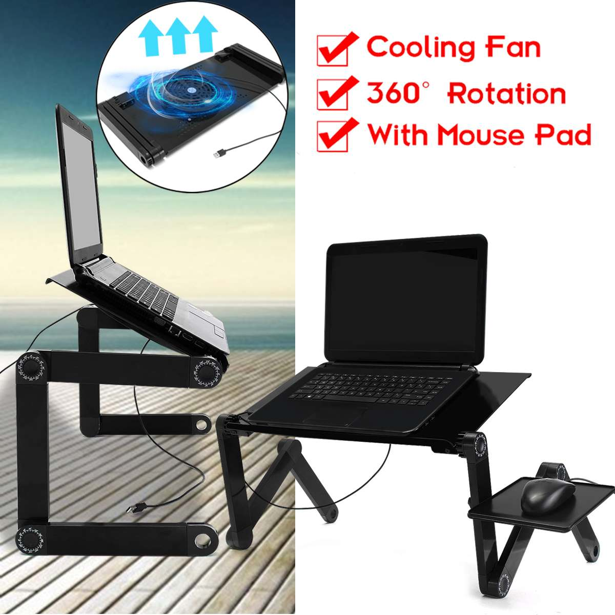 New Multi-function Lapdesk Laptop Desk Table Stand Bed Tray Portable Laptop Stand Aluminium Holder With Mouse Pad USB Cooler