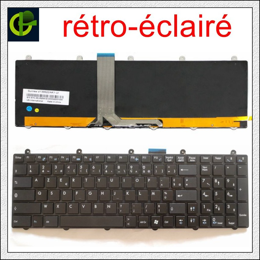 French Backlit Azerty Keyboard For MSI MS-16GA MS-16GB MS-16GC MS-16GD MS-16GE MS-16GF MS-16GH S1N-3EUS291 S1N-3EFR2P1-SA0 FR