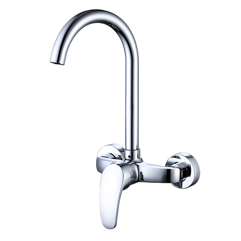 Copper Kitchen Wall Washing Basin Tap Diplopore Rotatable Cold Big Bend Tap Manufacturers Special Offer Wholesale