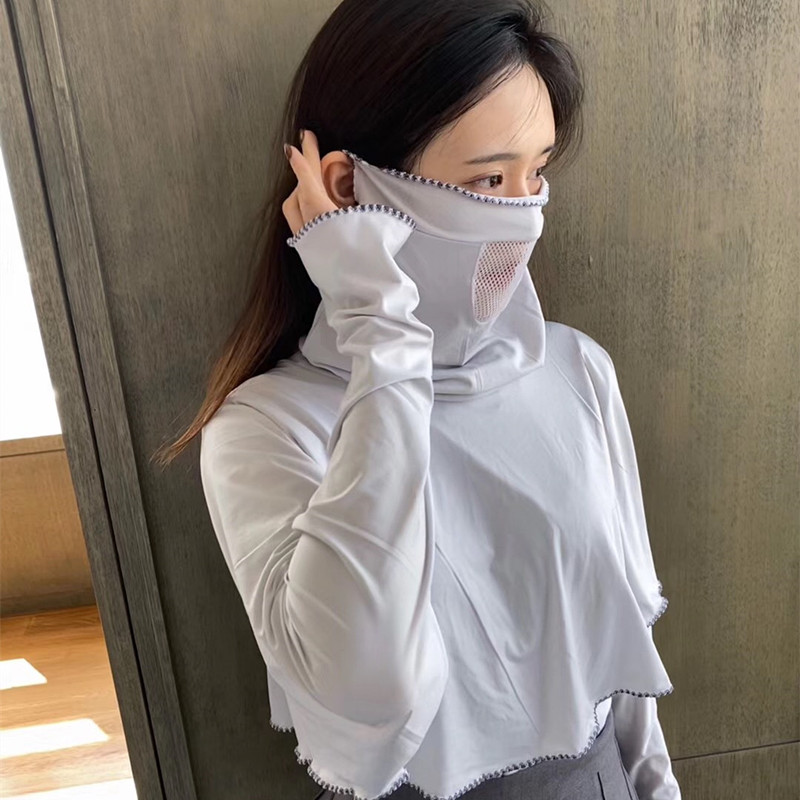 FA1 Women's Lightweight Long Sleeve Sun Protection Clothing Anti-UV Breathable Shawl Outdoor Anti-Mosquito Shirt With Face Mask.