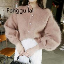 FENGGUILAI Winter Chic Pearls Mohair Sweater Lantern Sleeved Knitted Cardigan Buckles Velvet Jacket Oversized To