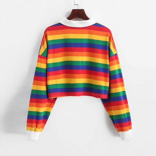 QRWR 2020 Polo Shirt Women Sweatshirt Long Sleeve Rainbow Color Ladies Hoodies With Button Striped Korean Style Sweatshirt Women 2