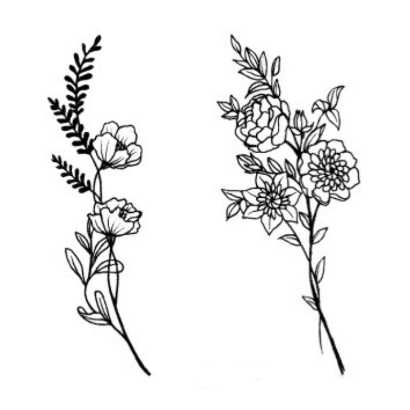 Waterproof Temporary Tattoo Camellia Rose Flowers Freedom Tatto Stickers Flash Tatoo Fake Tattoos For Girl Women Lady