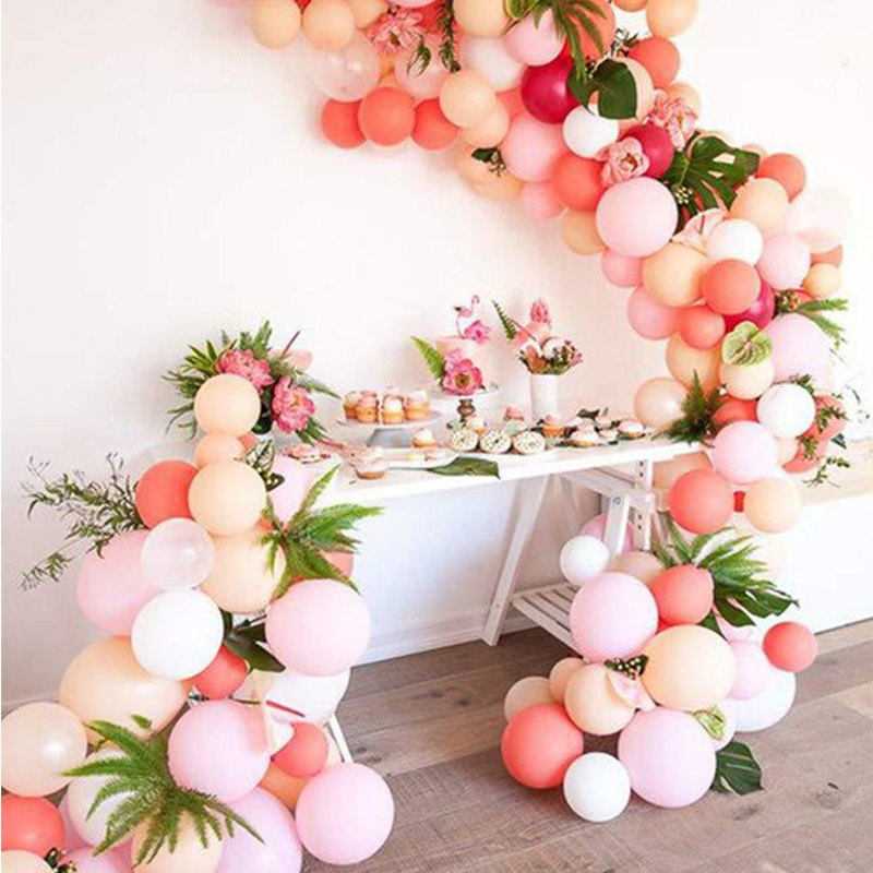 100pcs Birthday Wedding Baby Shower Anniversary Party Decoration Pink White Latex Balloons Garland Arch Kit Confetti Ballon
