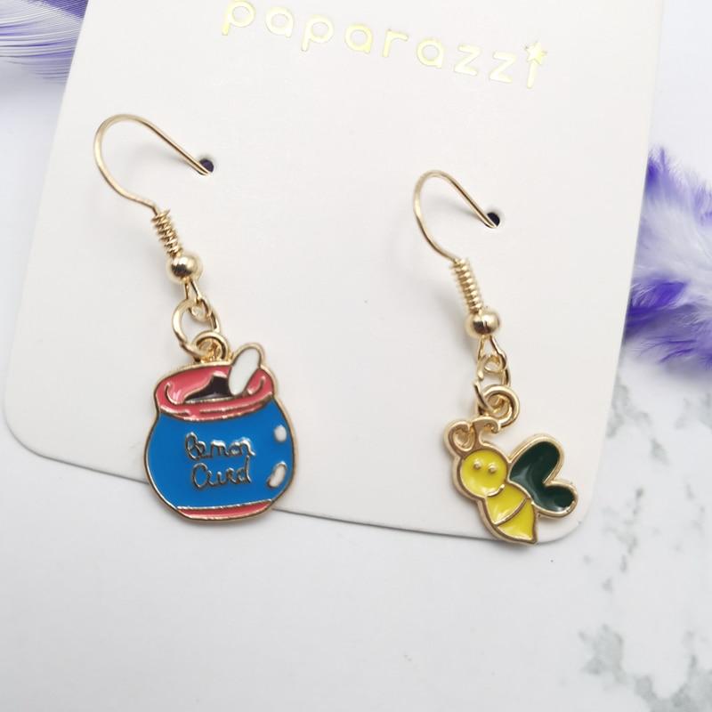 New 2020 cute bee earrings yellow tiny animal honey jar for