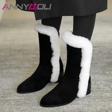 Ботинки женские замшевые до середины икры на высоком блочном