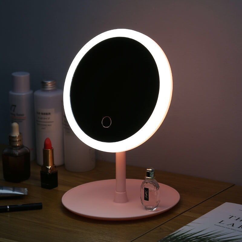 DAWI LED Illuminated Night Makeup Mirror Easy Makeup Beauty Mirror USB Charging Adjustable Brightness Dressing Mirror Travel