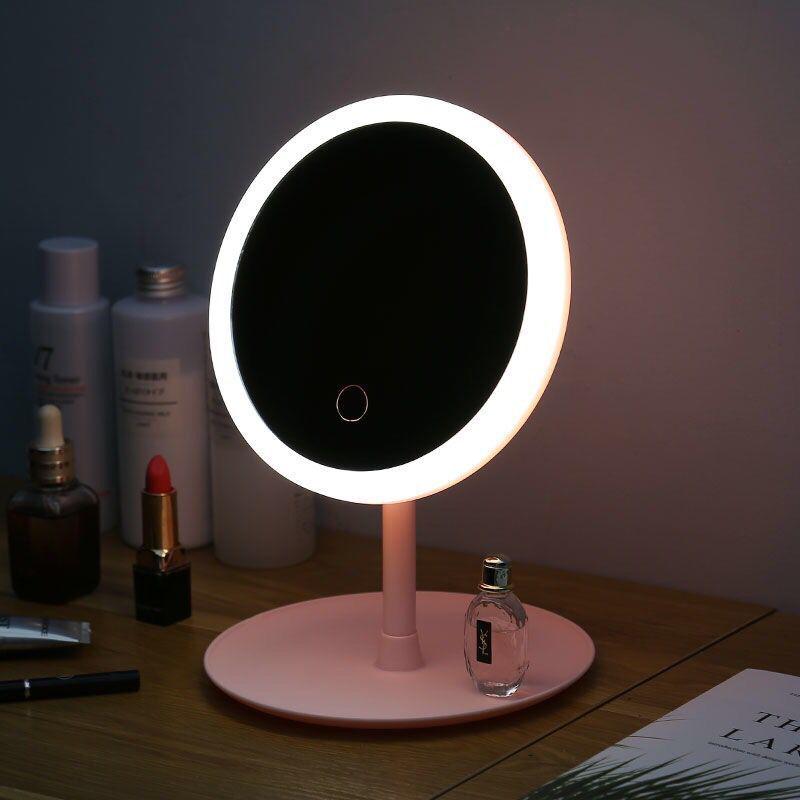 DAWI LED Illuminated Night Makeup Mirror Easy Makeup Beauty Mirror USB Charging Adjustable Brightness Dressing Mirror Travel