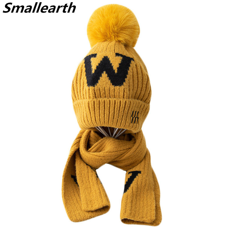 Winter Kids Warm Knitted Hat With Scarf Sets Plush Baby Beanies Cap Children Thick Hat Scarf Set Boy Girl Outdoor Sport Hats Set