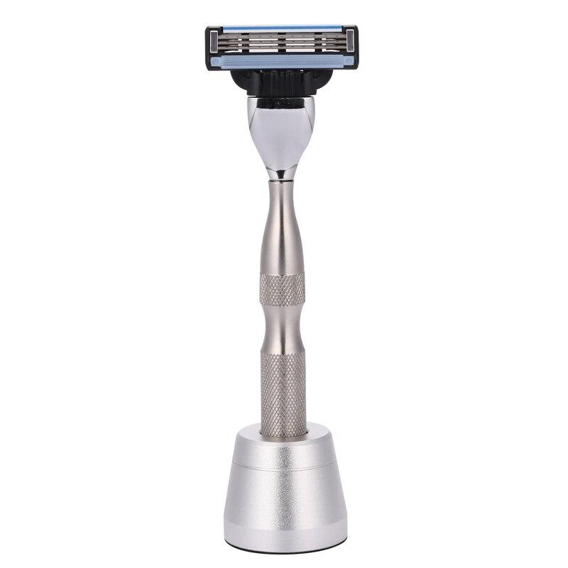1 Razor + 1 Base Shaving Razors Handle 304 Stainless Steel Men Safety Razor Handle Holder Blank Without Blades Manual Shaver