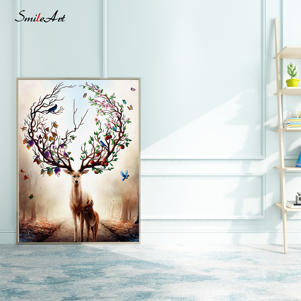 Cartoon Deer Beautiful Antlers Animal Print Canvas Painting Wall Pictures For Living Room Pictures On The Wall Art Home Decor