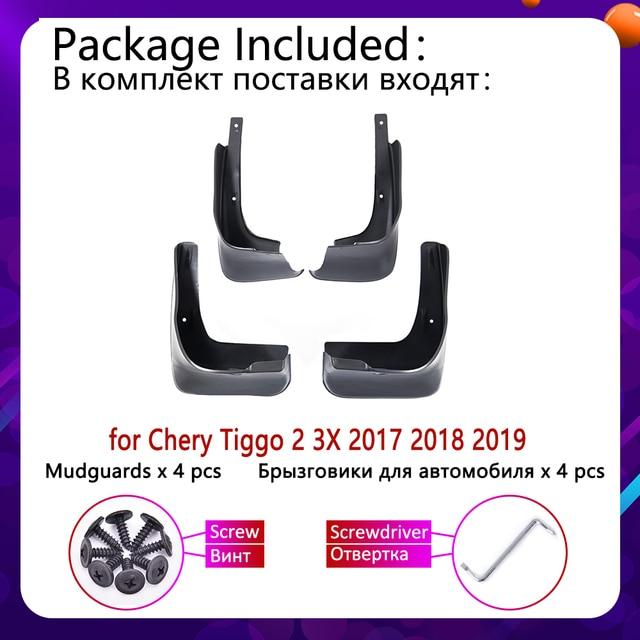 4 PCS for Chery Tiggo 2 3X 2017 2018 2019 Mudguards Mudflaps Fender Guards Splash Mud Flaps Guard Front Rear Wheel Accessories