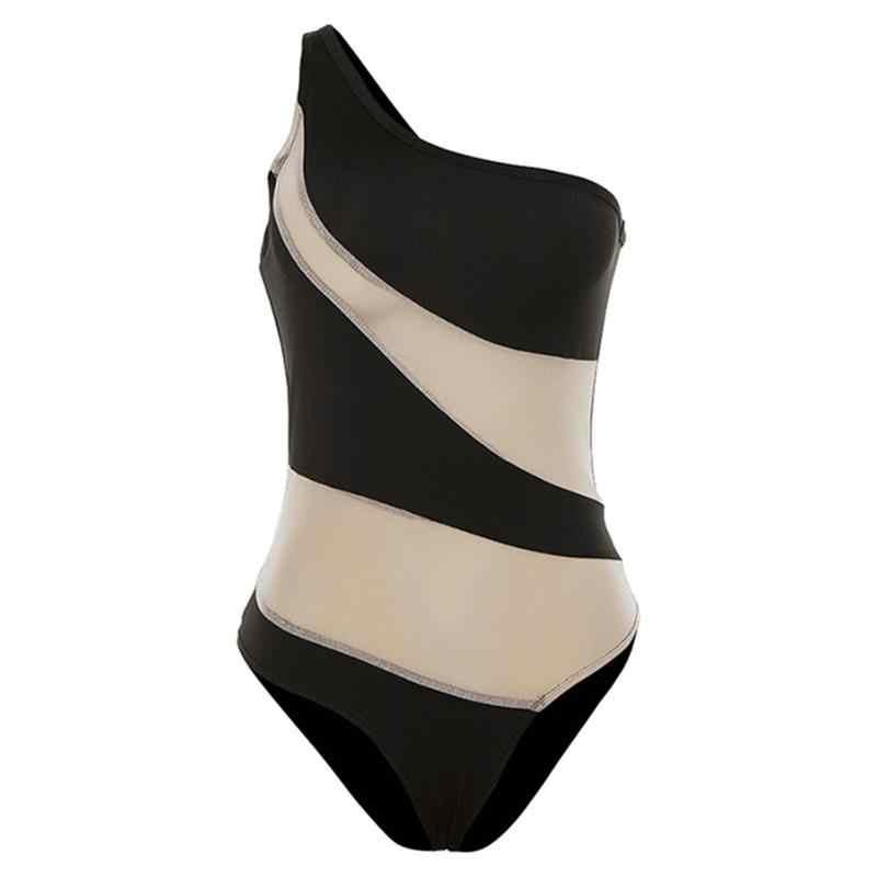 Shestyle Schulter Gestreift Nude Bodys Frauen Bodycon Unregelmäßige Neck Strand Körper Urlaub Beachwear Mesh Garn Patchwork Körper