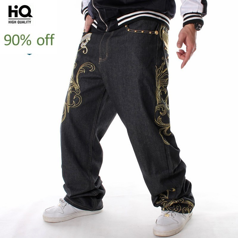 2020 New Fashion Embroidery Dance Denim Pants Hip Hop Loose Fit Straight Jeans Men Quality Casual Baggy Plus Size Man Streetwear