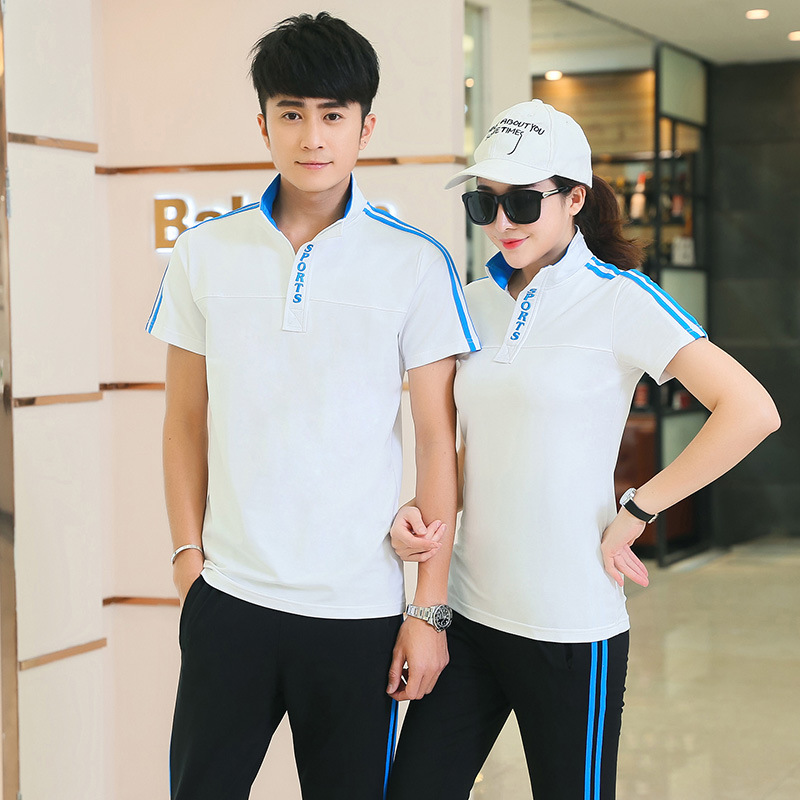 Summer Sports Set Men And Women Thin Short-sleeve Jogging Suit Breathable Couples Sports Clothing Middle School Students School