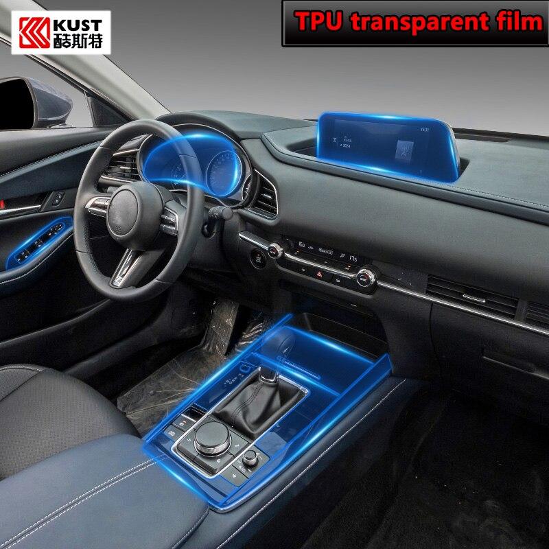 For Mazda CX-30 2020 2021 Car Interior Center console Transparent TPU Protective film Anti-scratch film navigation Accessories