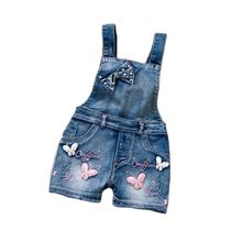 Summer Europe Style Overalls Girl Cute Sweet Washed Jeans Denim Romper Clothes Straps Short Pants Cowboy Blue Jumpsuit1-6Y