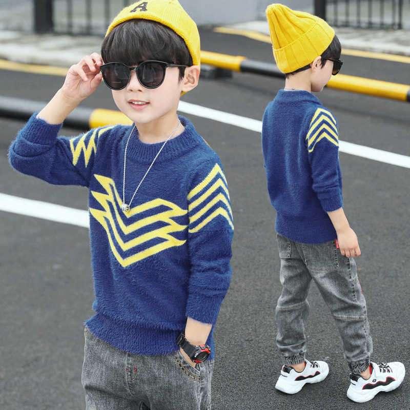 Teenage Boys Winter Sweater For Children's Knitwear Pullovers Tops 3-14 Years Toddler Kids School Sweaters Teen Boy Clothing 14