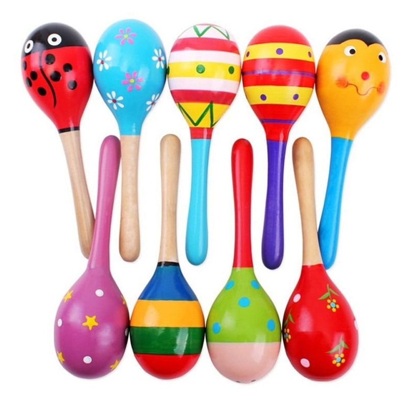 1PC Colorful Wooden Maracas Baby Child Toy Shaker Rattle Musical Instrument Party Kids Toys Random Color 12 X 3.5 Cm