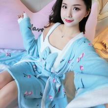 Flannel Female Kimono Bathrobe Gown Winter Warm Twin Robe Set Coral Fleece Homewear Nightgown Soft Thick Sleepwear Home Clothes female coral fleece kimono robe nighty